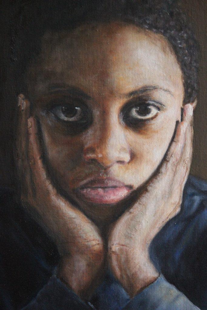 Porträtt av ung man, olja